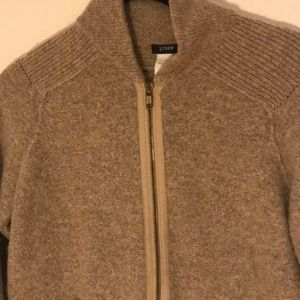 J Crew metallic merino wool bomber jacket